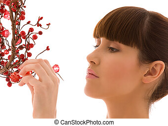 ashberry woman - portrait of lovely woman with red ashberry