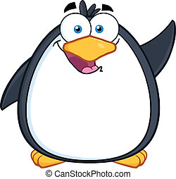 Funny Penguin Cartoon Waving