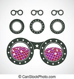 Sunglasses icon in disco style.