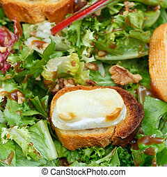 few toasted breads with goat cheese on lettuche - few...