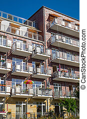 Modern house with many balconies - Detailed view of a modern...