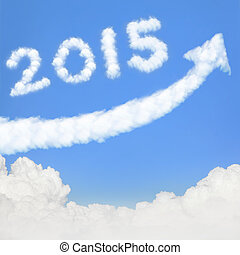 happy new year 2015, Go Go Go! white cloud and blue sky on...