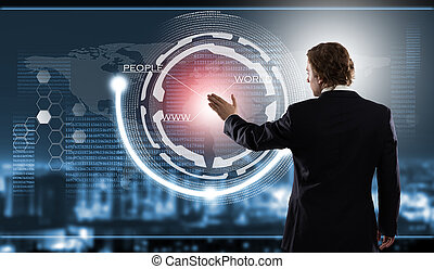 Innovative technologies - Rear view of businessman touching...
