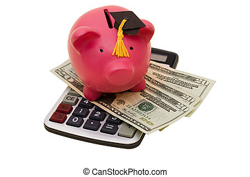 Increased Education Costs - A piggy bank wearing a...
