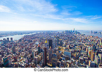 New York City Manhattan midtown aerial panorama view