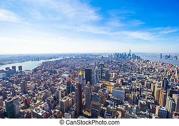 New York City Manhattan midtown aerial panorama view - New...