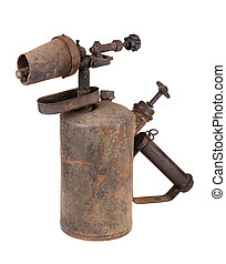 Rusty blowtorch - Old rusty blowtorch isolated on white...