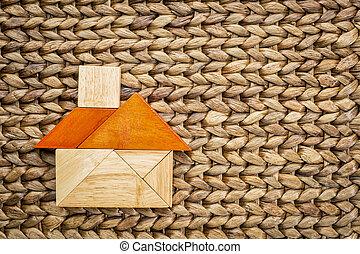 Kivonat, tangram, Épület