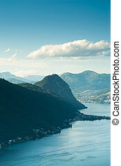 Monte San Salvatore and lake of Lugano. View from Serpiano,...