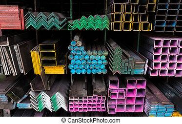 Acero, almacén, tubos, estante, ramo