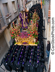 Religious processions in Holy Week Spain - Costaleros...