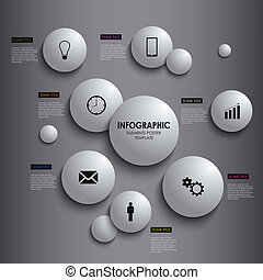 Abstract info graphic white round element poster template...