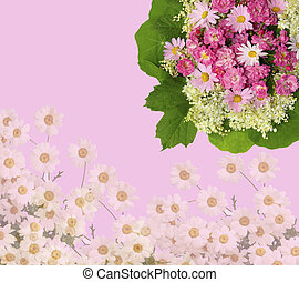 Scenic pink floral background with roses, daisies and green...