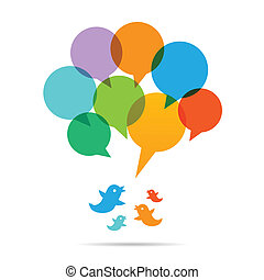 Talk Bubble Chat Birds - Vector illustration of talk bubble...