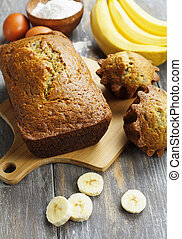 Homemade banana cake - Homemade banana cupcake on the wooden...