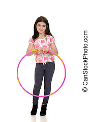 little girl holding hula hoop with white background
