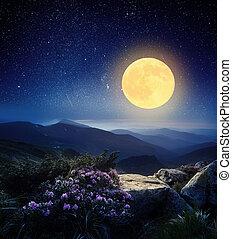 cheio, lua, montanhas
