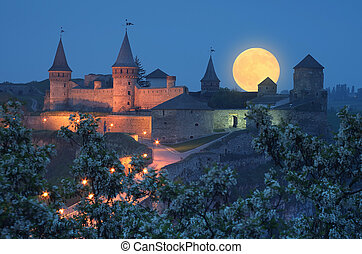 Old fortress with illumination - Night landscape with full...