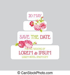 Wedding Cake Invitation - Save the Date - for design, scrapbook - in vector