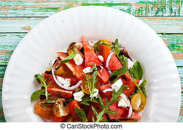 Watermelon Salad - Tomato and Watermelon Salad with Feta and...