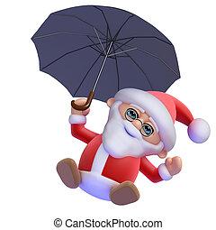 3d Santa Claus flies in - 3d render of Santa Claus under an...