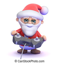3d Santa Claus plays a videogame - 3d render of Santa Claus...