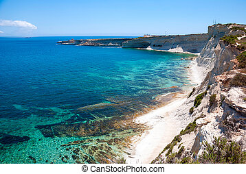 Cliffs, coast of Malta - White cliffs at the coast of Malta
