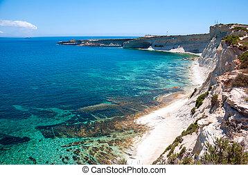 penhascos, costa, Malta