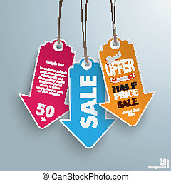 White Price Sticker Arrow Half Price - Infographic with...