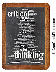 critical thinking word cloud on a vintage blackboard...