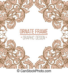 vintage border frame engraving with retro ornament pattern...