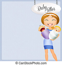nanny with baby - illustration of nanny with baby