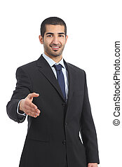 Arab businessman smiling ready to handshake isolated on a...