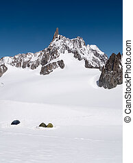Mountain Base Camp: the tents of a group of mountaineers that ai