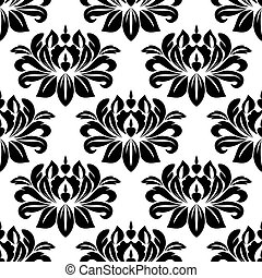 Damask seamless pattern with bold black motifs - Damask...