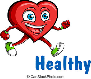 Running heart character for sports, healthcare or another...