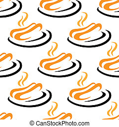 Steaming hotdogs seamless pattern - Steaming hotdogs served...
