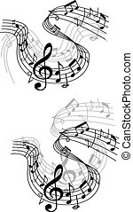 Music notes waves and compositions