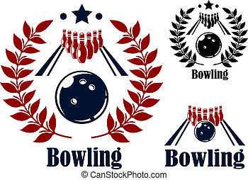 Bowling emblems and symbols set with a bowling ball and...