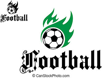 Football or soccer emblem with green flames and black word...
