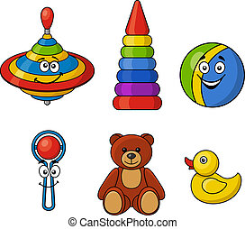 Brightly colored kids toys