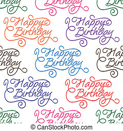 Happy Birthday seamless background pattern with text...