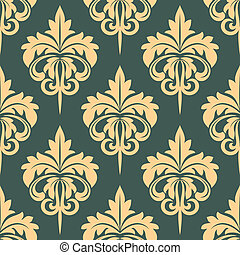 Damask seamless pattern in beige and grey colors