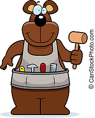 Cartoon Woodworking Bear - A cartoon woodworking bear with a...