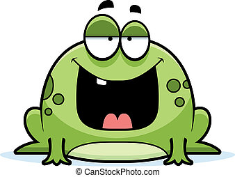 Cartoon Frog Smiling - A cartoon green frog smiling and...