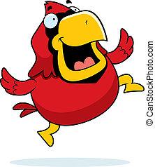 Cartoon Cardinal Jumping