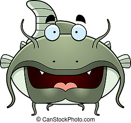 Cartoon Catfish - A green cartoon catfish swimming.