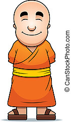Buddhist Monk - A happy cartoon Buddhist monk standing and...