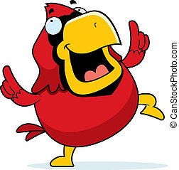 Cartoon Cardinal Dancing - A happy cartoon red cardinal...