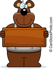 Cartoon Woodworking Bear Sign